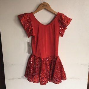 Red Metallic Dance Costume